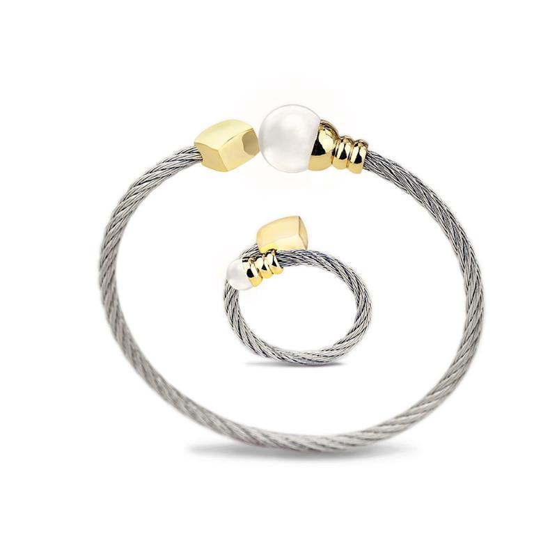 brazalete de acero inoxidable A198 sistema del anillo de la joyería del temperamento femenino señoras de la antigüedad del regalo del diseño del brazalete de los encantos elegantes de las mujeres