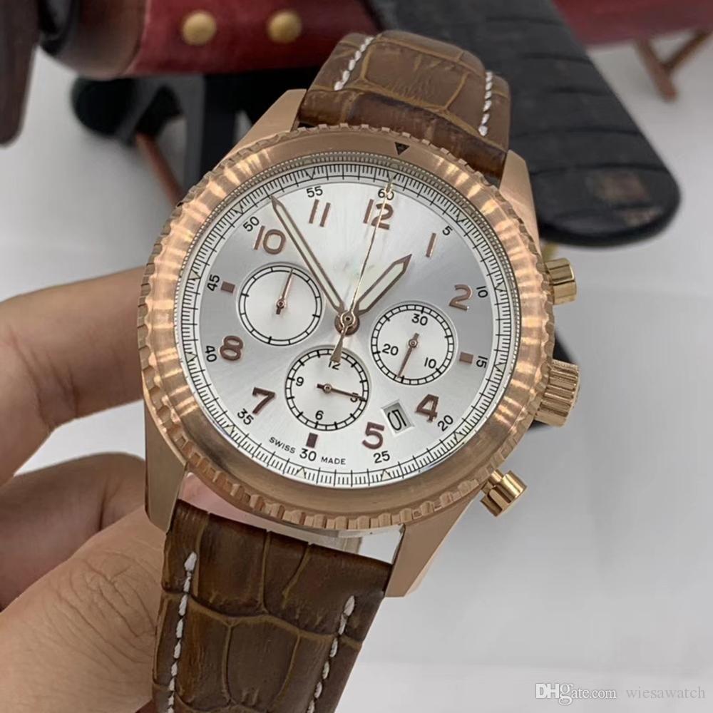Atacado Branco Dial 1884 Accurate Quartz Chronometer Mens Relógios 46mm ouro capa numerais arábicos Marcadores Data Relógios de pulso