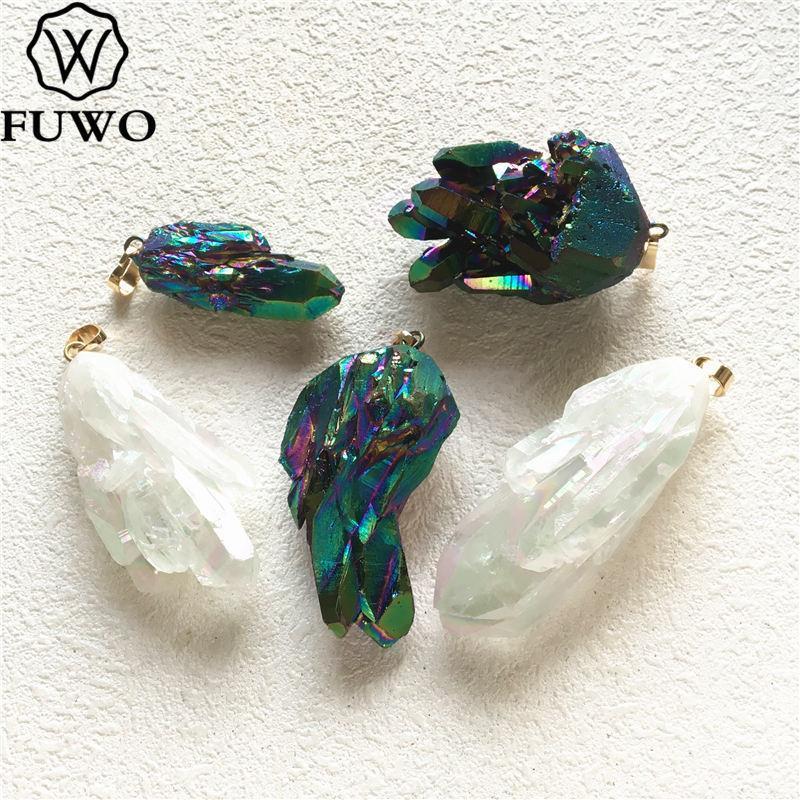FUWO Aura cristal naturel pendentif à quartz avec plaqué titane irrégulière Cristal Cluster pendentif pour collier Faire PD275