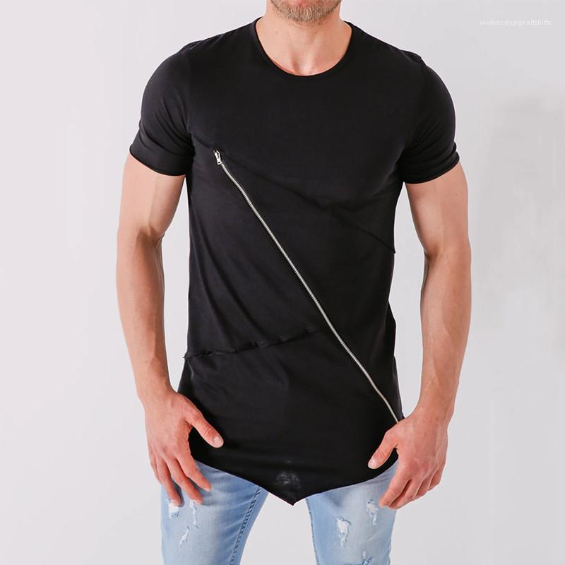 Zip Slim Fit T-shirt estate casuale girocollo manica corta di colore solido T Moda Maschile Top Mens Side
