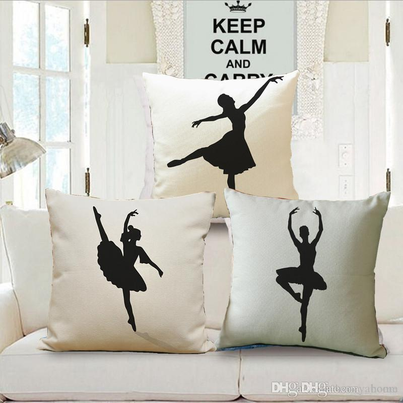 Pillow Case Lovely Dancing Girl Cotton Linen Cushion Car Sofa Chair Seat Square 18x18 inches Cushion cover Home Decor