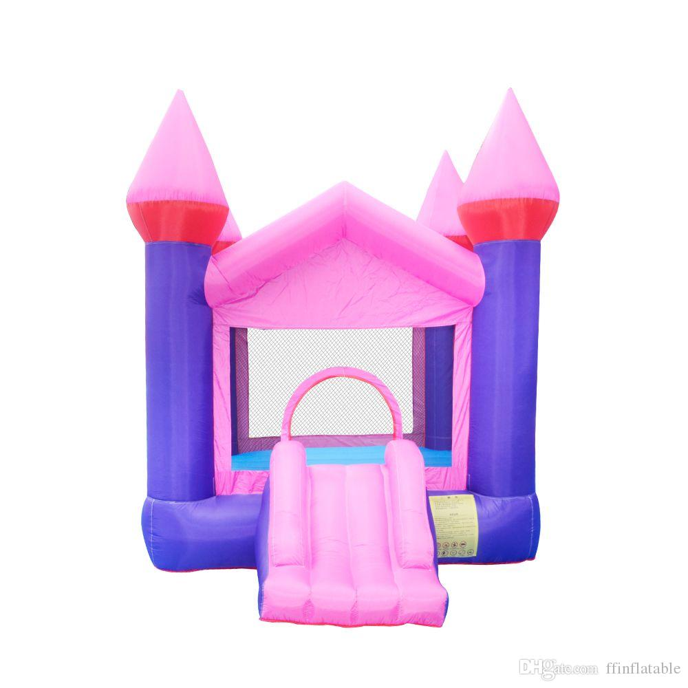 High Quality Wholesale Inflatable Bouncers Small Bounce House Pink Inflatable Bouncers For Sale w/ Air Blower For Kids Home Play Fun Castle