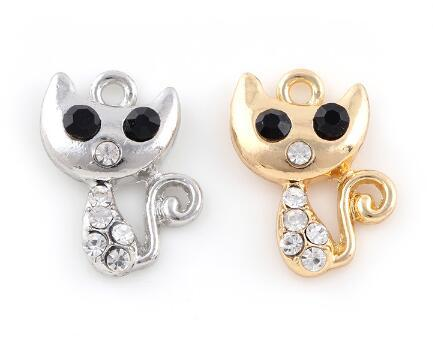 20PCS/lot 15x22mm (Golden,Silver Color) Rhinestones Cat Pendant DIY Hang Charms Fit For Floating Dangle Locket Jewelrys