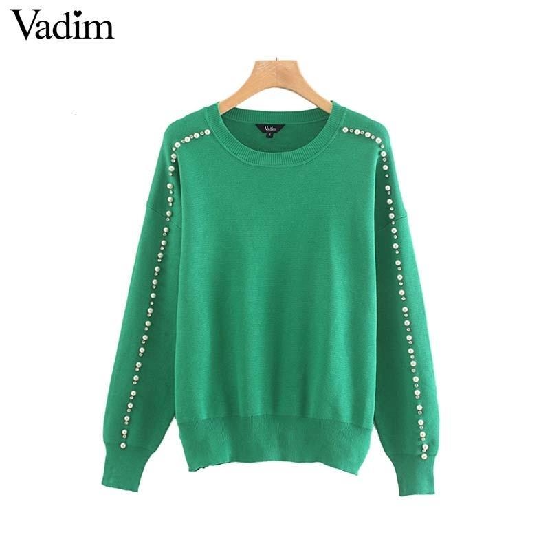 Vadim donne demonds perle dolce bordare decorare maglia maglia a manica lunga O collo elastico pullover femminile superiore verde HA421 V191130