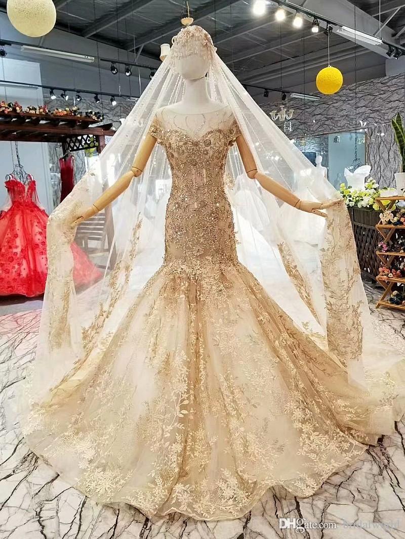 2019 100% реальные изображения золотые свадебные платья русалка кружева аппликации из бисера кристалл совок шеи с коротким рукавом настроить размер свадебных платьев