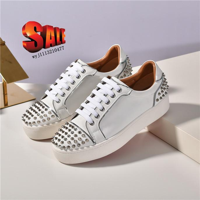With box NEW Red Bottom Spike Sock casual shoes, Red Sole Flats with Krystal Spikes, 30mm Black & White Donna Flats for Women & Men Sneakers