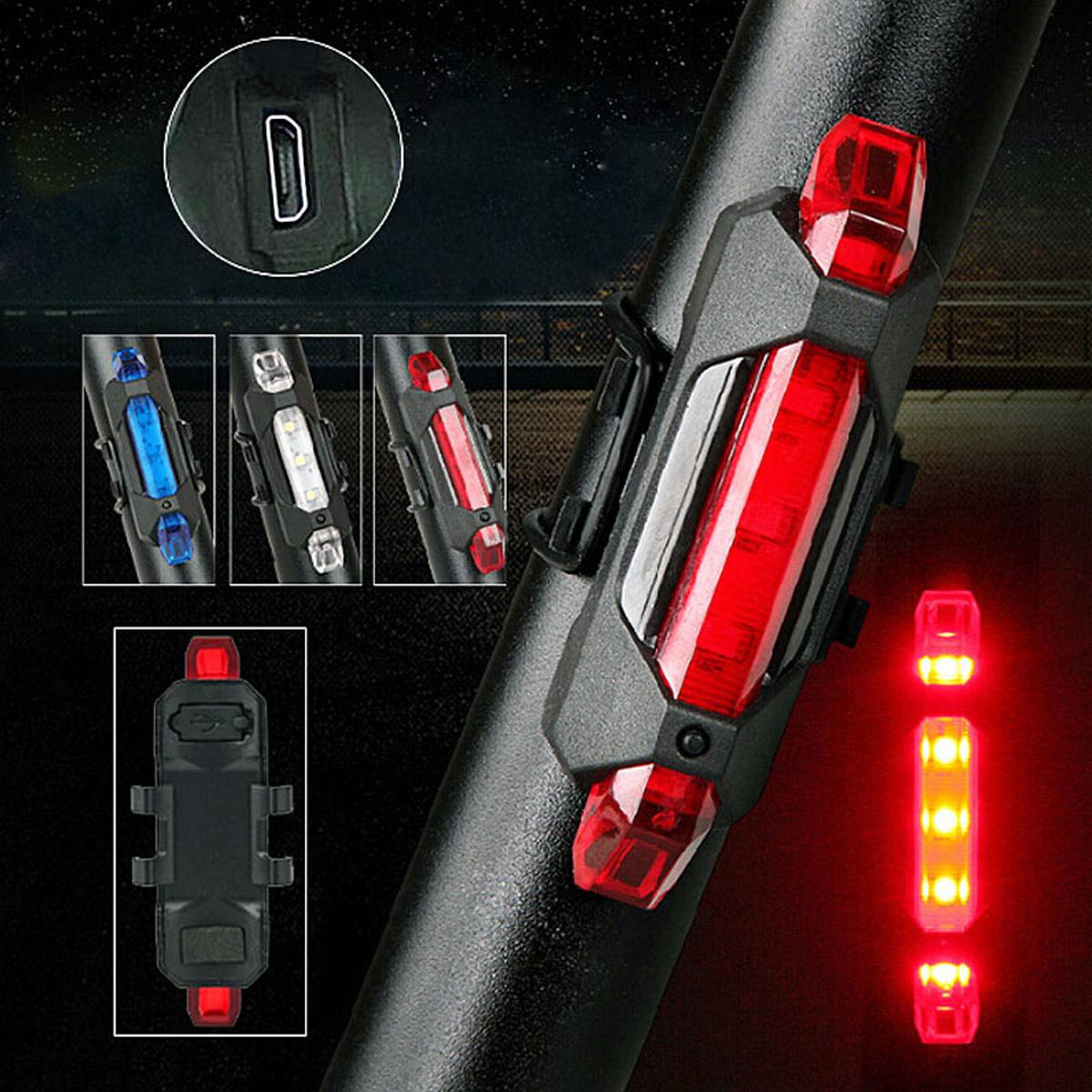 Nuevo Portátil LED USB Recargable Ciclismo Light Bike Tail Luz de Advertencia de Seguridad Trasera 55 YS-BUY C18122601
