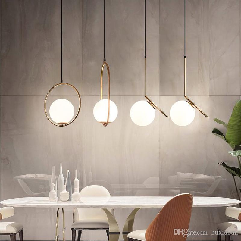 Lampadario nordico Lampadario minimalista LED Lampadario Lampadario Hang Glass Ball Shood Room Bedroom Minimalist Restaurant Bar Home Lighting