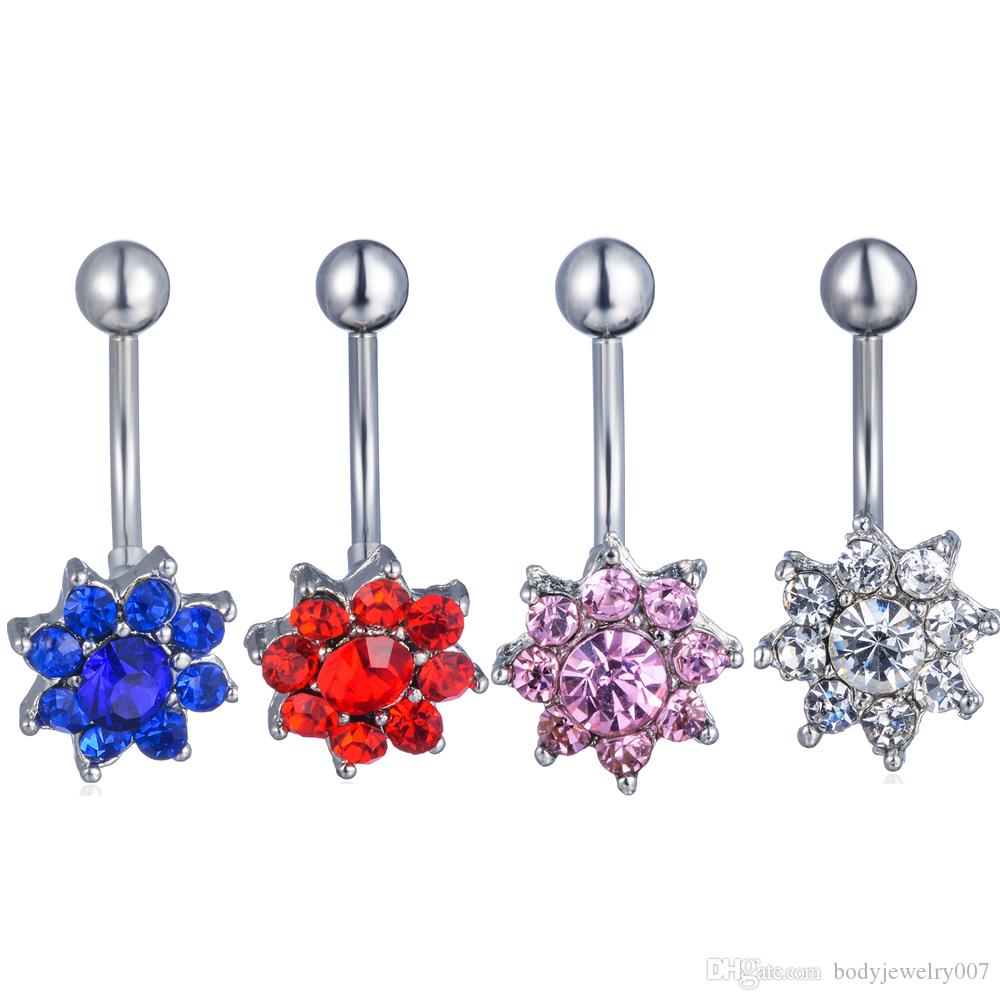 D0340-5 ( 4 colors ) Nice style Navel Belly ring 20 pcs DK.BLUE and red ,pink clear stone drop shipping factory price