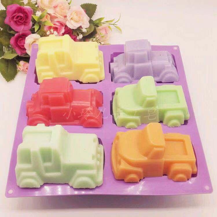 6 in 1 pista di macchina di figura del silicone TrayChocolate Candy torta stampi vassoio della muffa di Sugarcraft della muffa Effettuare Fab decorazioni per torte