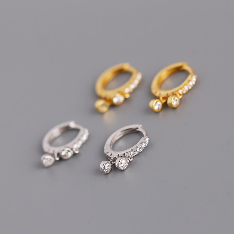 Für Mädchen Frauen S925 Silber Ohrringe Allergische Frei 18 Karat Gold Silber Überzogene CZ-Reifen Ohrringe Nizza Schmuck Geschenk