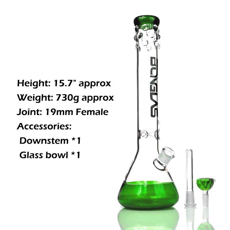 Clakah Beaker Bongs с Grace Stripe Tube из бисера вокруг мундштука Cool выглядит синий / зеленый водопроводной труб 14 мм курение аксессуаров