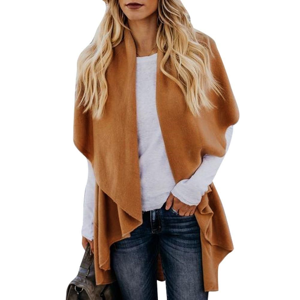 Vêtements pour femmes Cardigan Manteaux Automne Printemps Chandail Longue Longueur Tops Femme À La Mode Robe Survêtement Veste De Couleur Unie