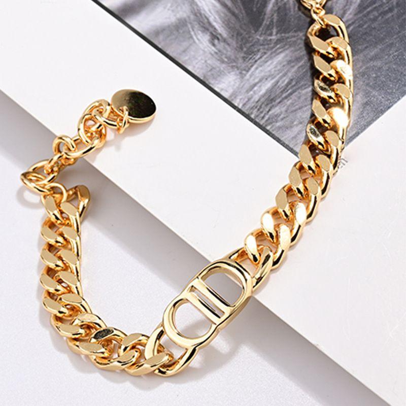 lüks takı kadınlar tasarımcı kolye altın kalın zincirler gerdanlık D harfi logosu moda klavikula zincir kolye ve bilezik ile kolye