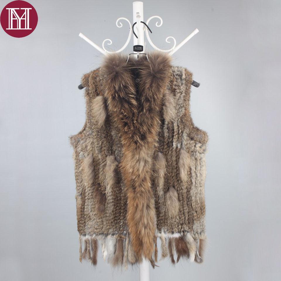 Las mujeres del invierno de piel de conejo auténtica chaleco de la señora de punto de conejo de piel natural, chalecos con verdadera mapache CJ191212 buena calidad cuello de piel