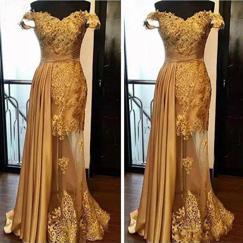 Vestidos de encaje dorados Vestidos de noche 2019 Off The Shoulder Applique Rhinestone Beaded Layers Falda Vestidos de noche vintage Vestido de fiesta formal Plus