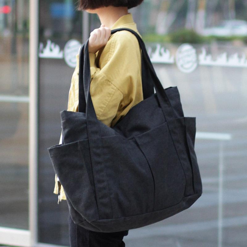 Canvas Multi-pockets Zipper Handbag for Student School Teacher Fabric Leisure Top-handle Bag for Teenager Big Jumbo Diaper Bag T200629