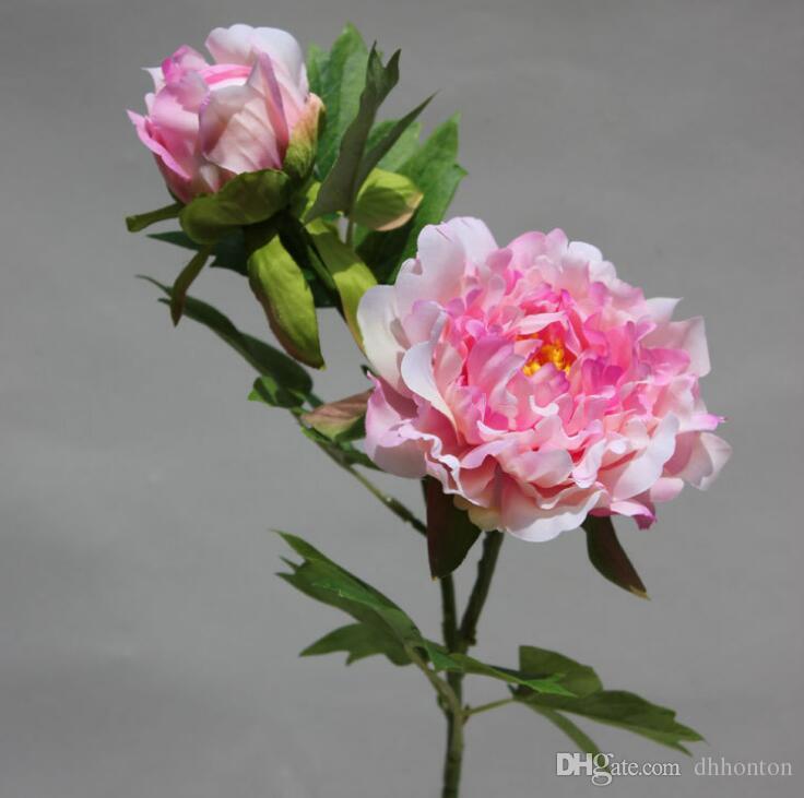 Искусственный цветок Шелковый пион цветок маленькие пионы с двумя головками около 50 см высота свадебный букет и украшения для дома