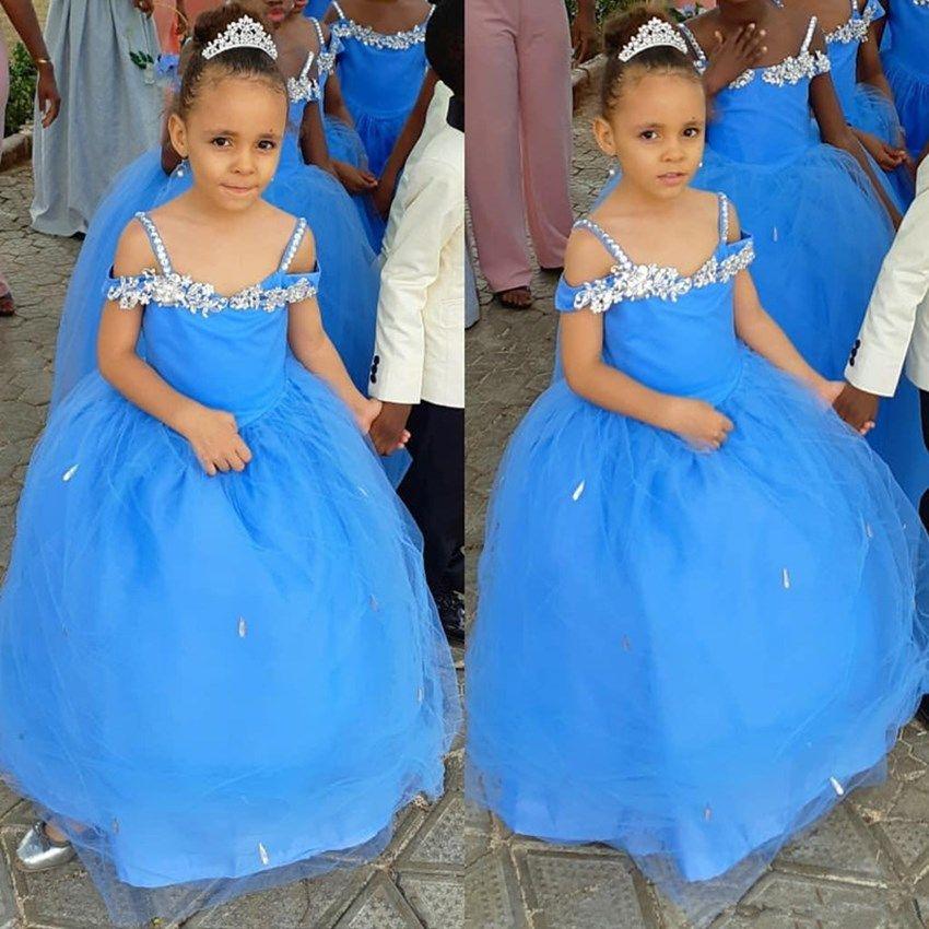Синие платья для девочек блестящие кристаллы очаровательная мода тюль пушистый маленькая девочка день рождения девушки театрализованное Святое Причастие платье