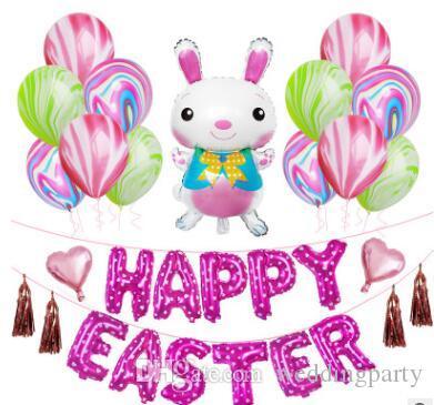 12inch Easter Day Party Decorative Sets Cartoon Rabbit Bunny Shape Aluminum film Balloon Decor Kits kids toys