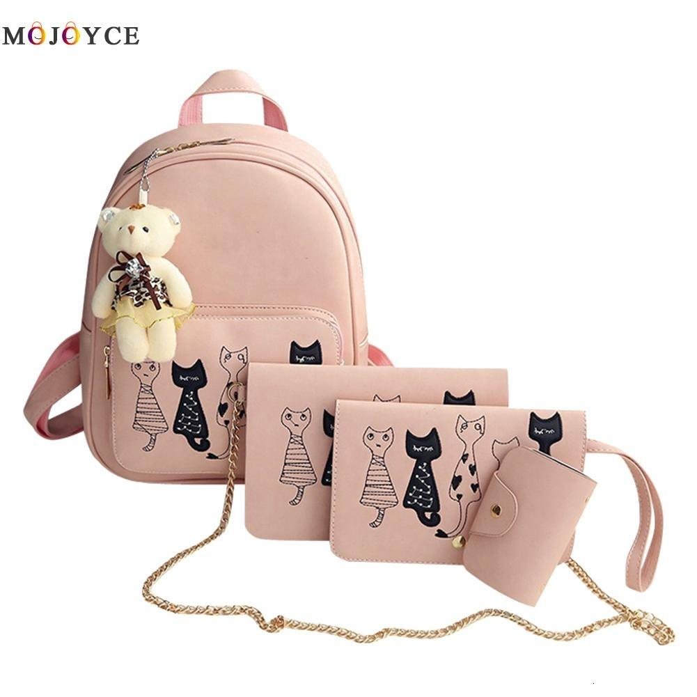 4Pcs/Set Small Backpacks female School Bags For Teenage Girls Black Pink PU Leather Women Backpack Shoulder Bag Purse Mochila LY191203
