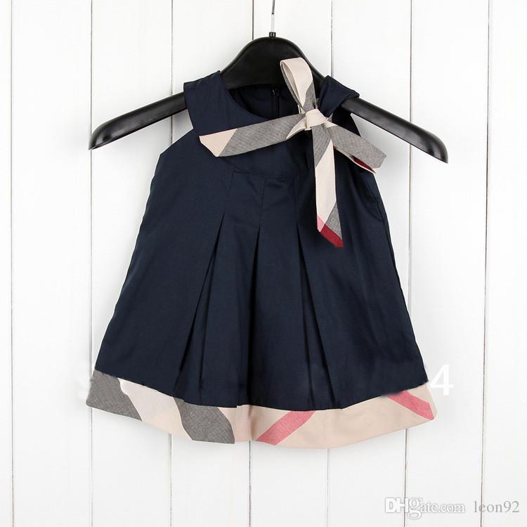 INS Sıcak satış 5 renkler 2019 YENI varış yaz Kızlar Kolsuz elbise yüksek kalite pamuk bebek çocuk ekose yay elbise ücretsiz kargo