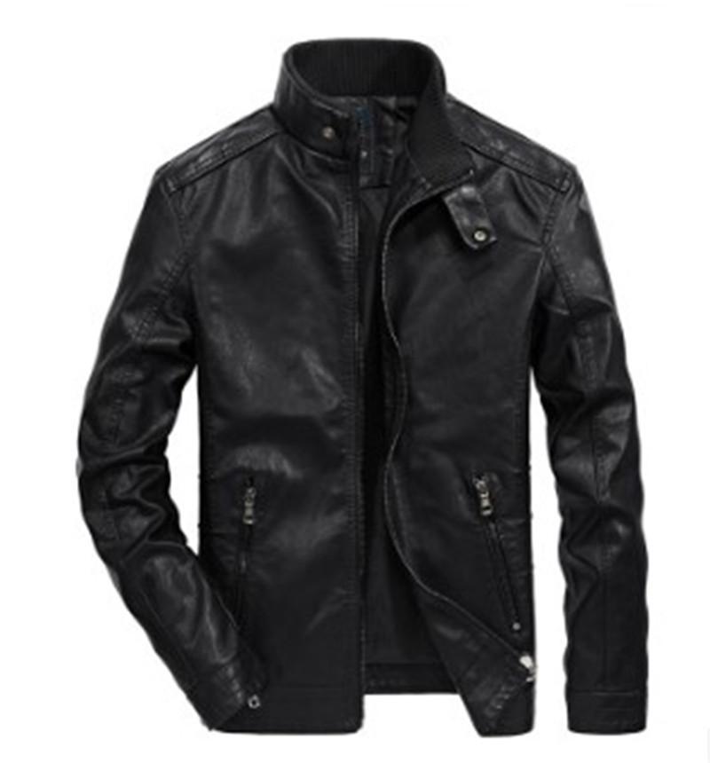 مصمم رجالي بو سترة جلدية Motorbiker الوقوف الياقة سحابات صالح سليم معاطف وجاكيتات الصلبة اللون مع وجود جيوب