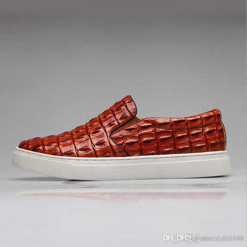 2017 Мода Крокодил Стиль Мужчины обувь Оксфорд Мужчины Квартиры обувь дышащая Красный люкс Мокасины Мода вождения обувь