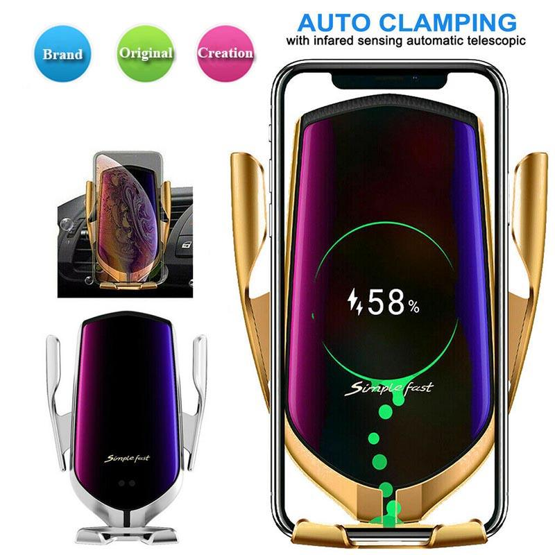 R1 Wireless Car Charger Automatic Clamping For Android smart phone Air Vent Phone Holder 360 Degree Rotation 10W Fast Charging with Box