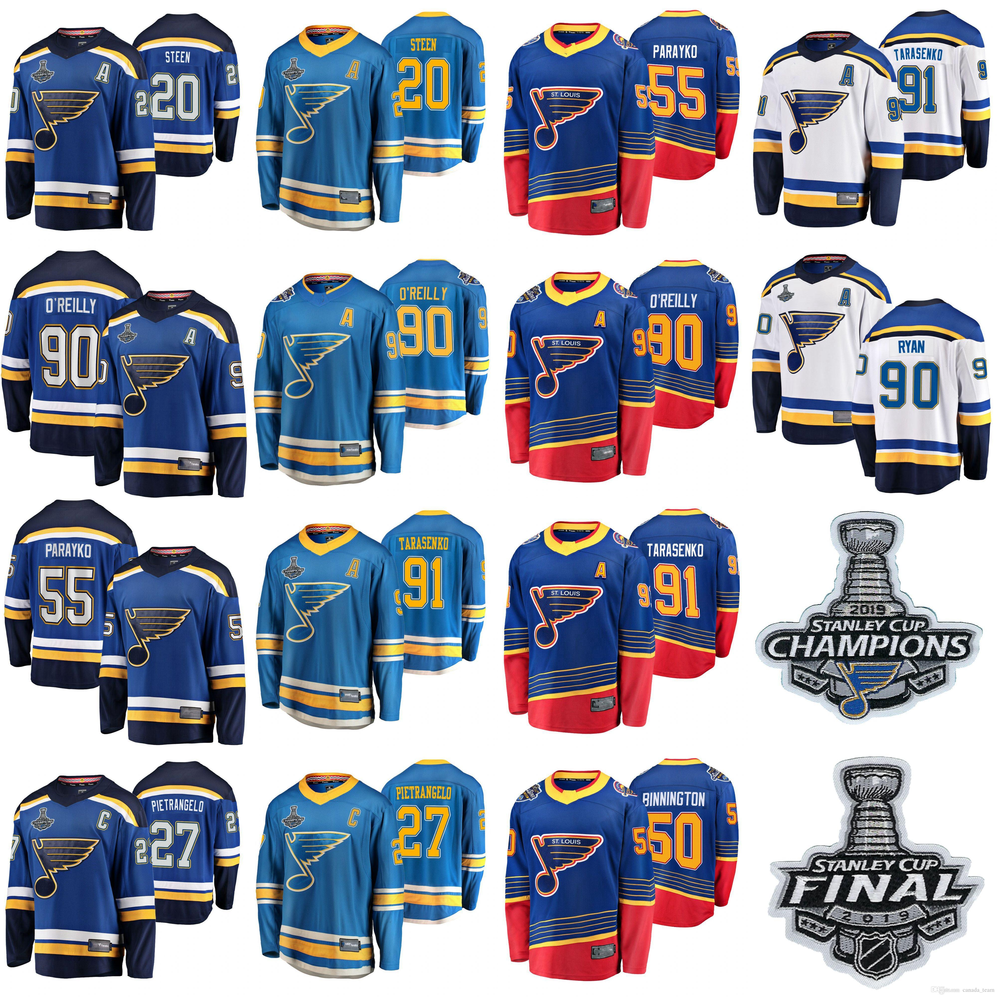 St. Louis Blues 2019 Stanley Copa Final Champions Hockey Jerseys Vladimir Tarasenko Jersey 90 Ryan O'Reilly Colton Parayko Steen costurado
