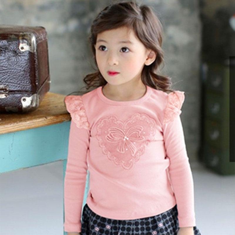 LEMEMOGO Neue Herbst Mode Mädchen Baumwolle Shirts Kinder Spitze Schule Blusen Kinder Langhülse Bluse Mädchen Bogen Liebe Hemd