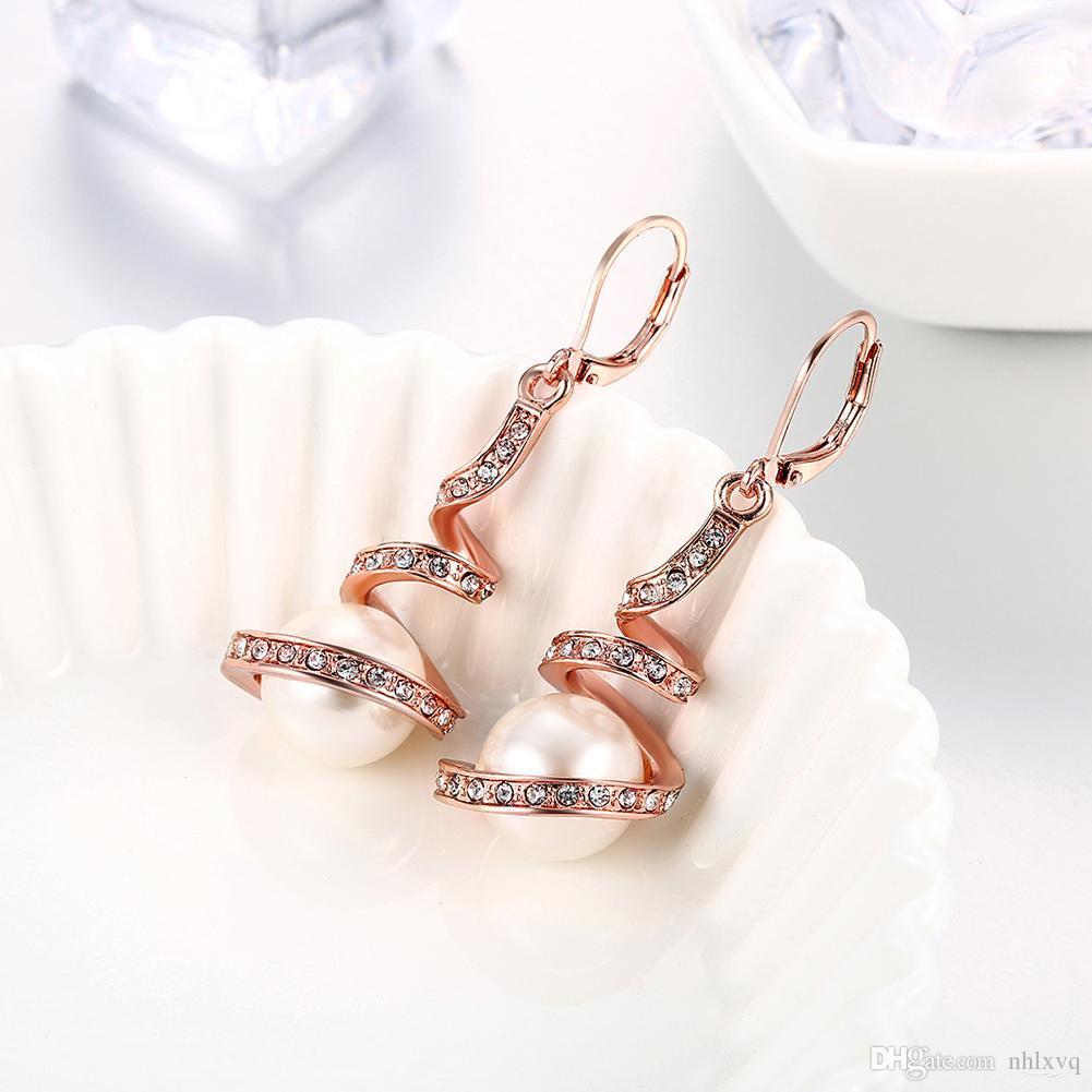 Elegante Lady Dangle Pearls Pendientes Rose Gold Imitación White Pearl Ear Jacket Moda Mujer Romántica Personalidad Joyería Dangle Ear Rings