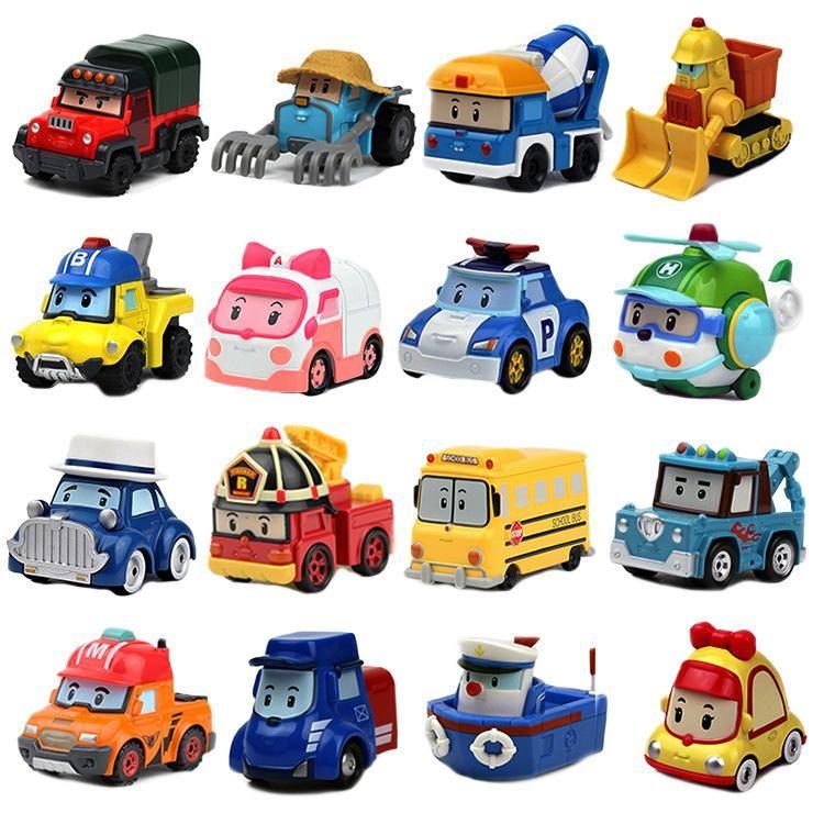 16 stili auto robot Poli Action Figures bambini Azione Giocattoli robot Poli Roy Haley Anime metallo Figura auto giocattolo per i bambini del regalo di compleanno