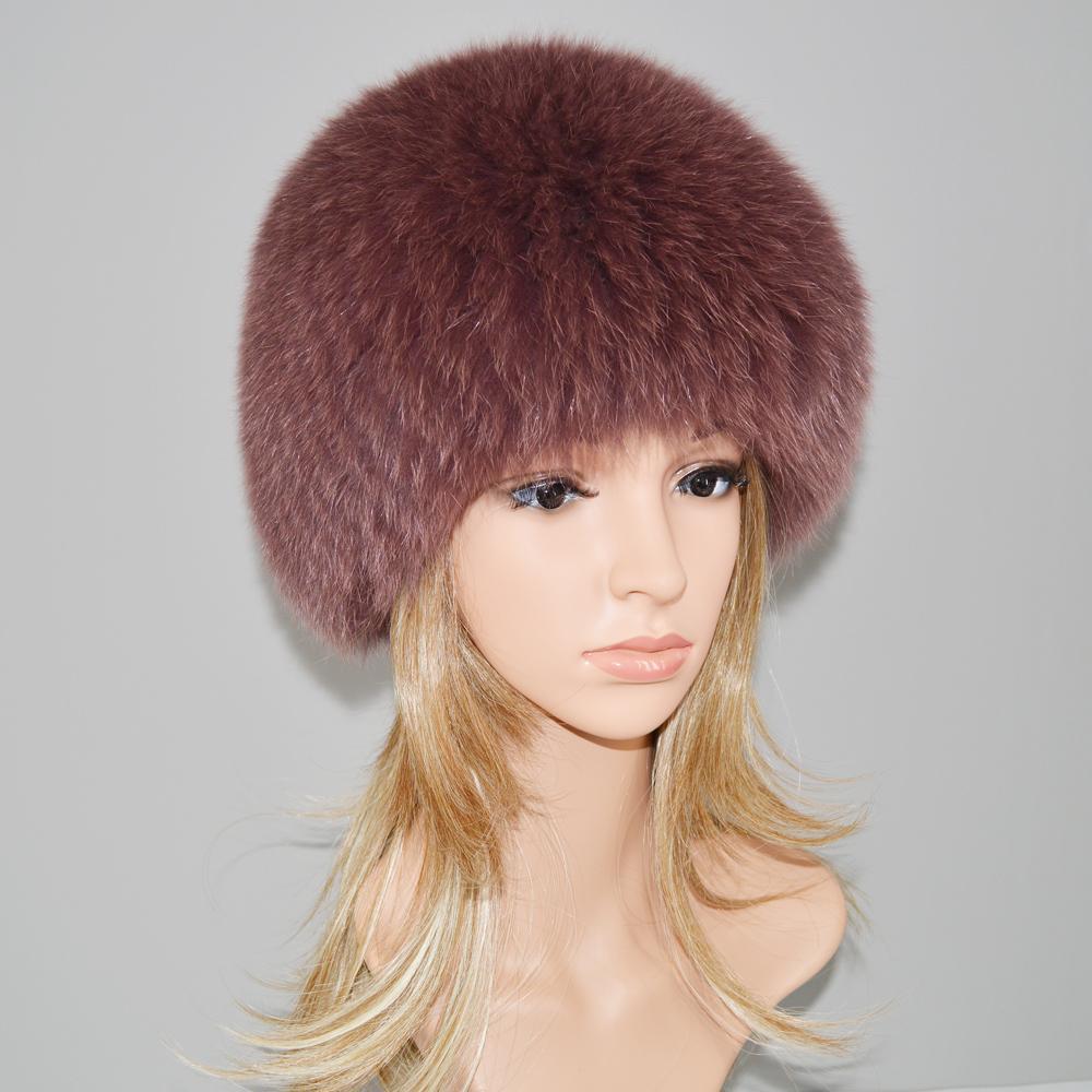 2019 Lüks 100% Doğal Gerçek Fox Kürk Şapka Kadınlar Kış Örme Gerçek Fox Kürk Bombacı Kap Kadın Sıcak Yumuşak Fox Kürk Beanies Şapkalar
