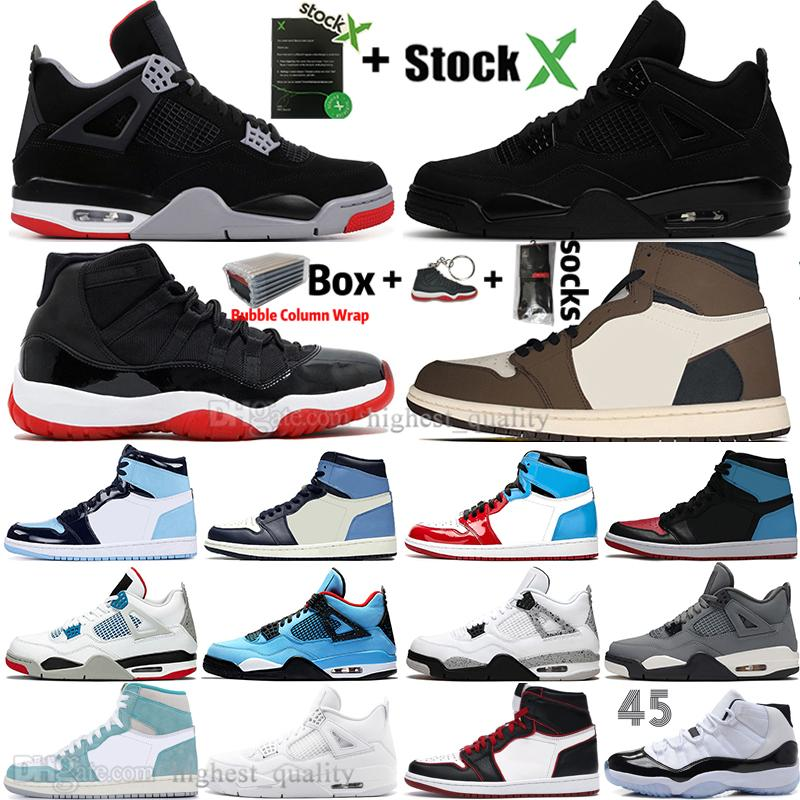 New Black Cat 4 4s White Cement Was die 1 1s Travis Scotts Grau Herren-Basketball-Schuhe UNC 11 11s Concord Männer Frauen Sport Sneakers Bred