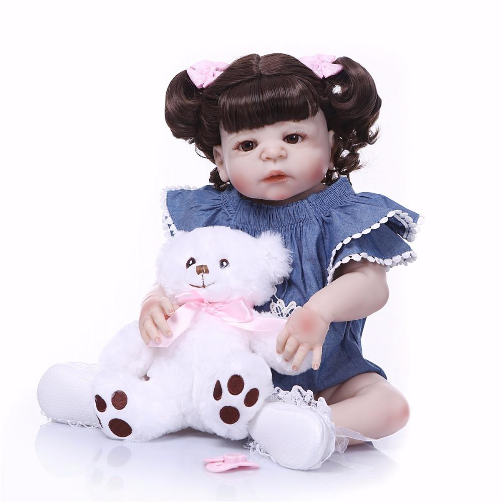 Bebe Reborn New Hairstyle Girl Doll Full Silicone Body Lifelike Bebe Reborn Princess Girl Doll Handmade Baby Toy Kids Gifts