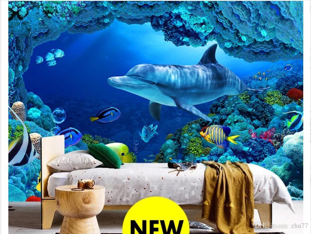 3D papel de parede personalizado foto de seda mural papel de parede 3D mundo subaquático golfinho quarto TV mural fundo adesivo de parede papel de parede