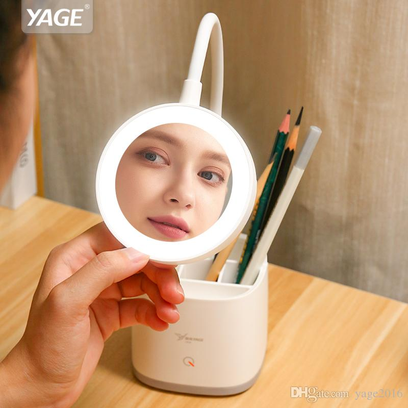 YAGE Makeup Mirror Table Lamp Pen Holder Desk Lamp Hose 3 Mode Dimmer 18650 Rechargeable USB Reading Led Table Lamps Night Light 1200mAh