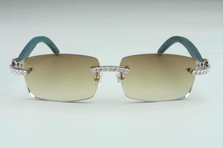 Pieza 3524012-11 grandes gafas de sol sin límites, y gafas cuadradas de diamante de madera, gafas de sol verdes de las mujeres más nuevas de la moda de los hombres Hxnmm