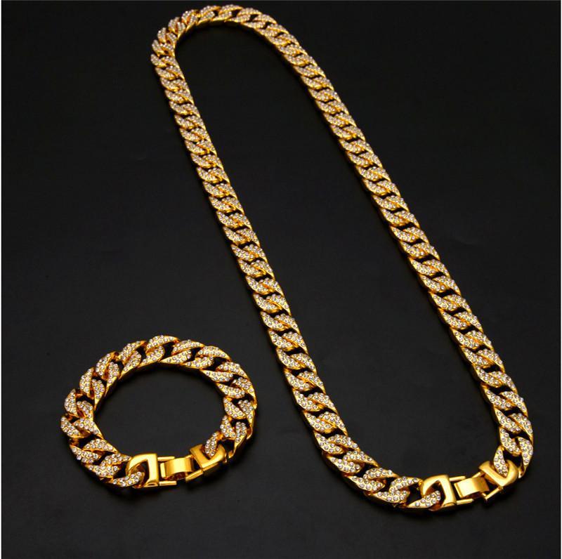 الجليد خارج الهيب هوب سوار قلادة مجموعة 18 كيلو الذهب والفضة مطلي الهيب هوب مجوهرات المصوغات الرجال بلينغ مكعب زركونيا سلسلة أساور ربط القلائد