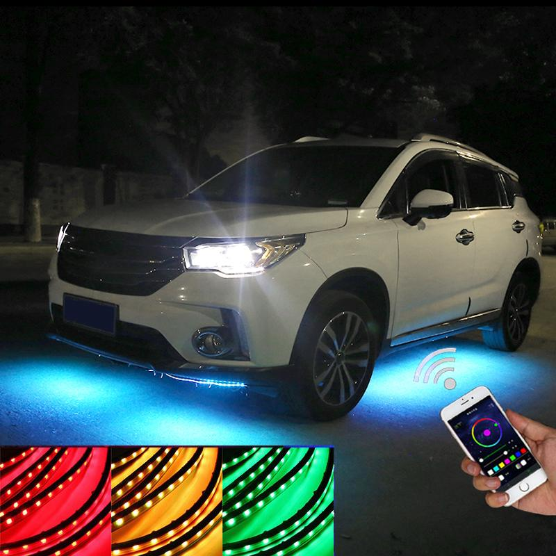 Niscarda 4x APP/Remote Control Car Light Under Glow Underbody Waterproof Car Styling Tube Underbody System Neon Lamp Kit
