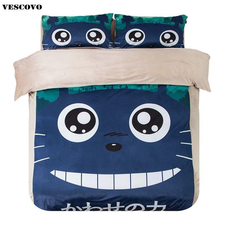 Cartoon Totoro print coral fleece duvet cover bed sheet pillowcase 4 pieces bedding set twin queen king size Children's bedroom