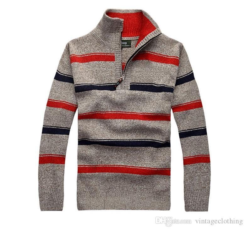 Mens Autumn Winter New Striped Sweaters Spring Sutumn Pullovers Casual Male Sweaters Tops Plus Size M-3XL