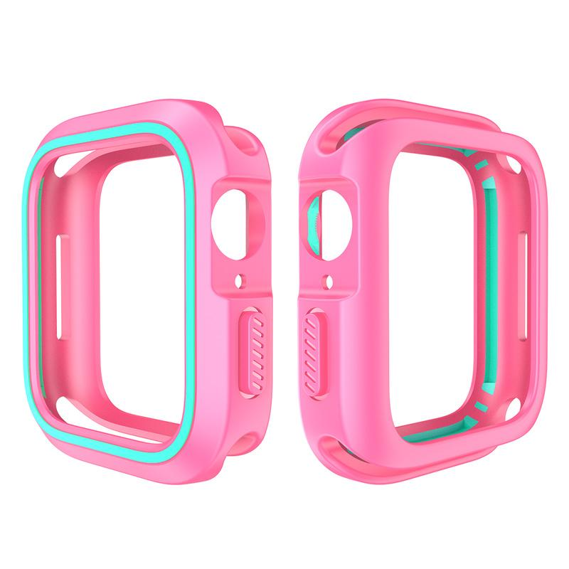 New PC+TPU double color smartwatch protector frame For apple watch 1 2 3 4 5 soft silicone case For iwatch 38 40 42 44mm screen safety cover