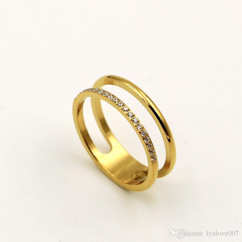 Vendita calda titanio acciaio inox anelli d'amore per le donne uomini gioielli coppie cubiche zirconi anelli di nozze bague femme 6mm