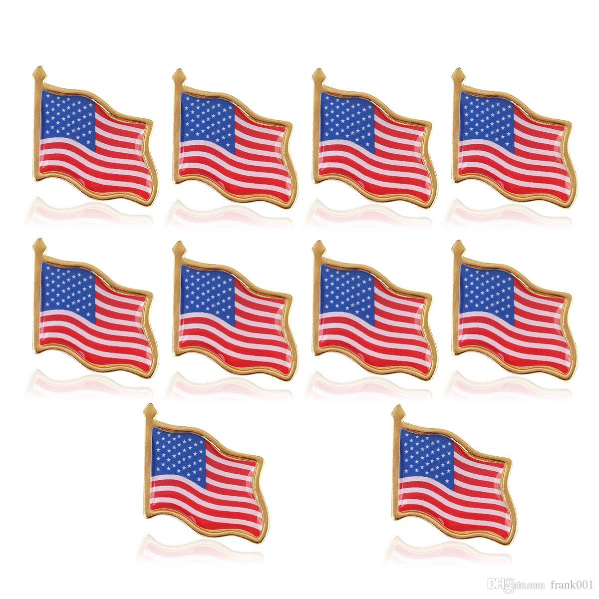 10 قطعة / الوحدة العلم الأمريكي التلبيب دبوس الولايات المتحدة الأمريكية قبعة التعادل تك شارة دبابيس مصغرة دبابيس للملابس حقائب الديكور