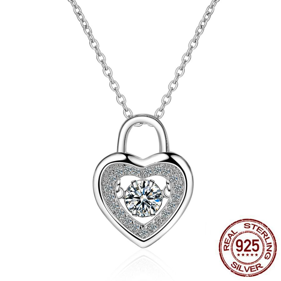 Silver Necklaces New Shiny Zircon Heart Design 925 Sterling Silver Pendant Necklaces for Women Jewelry Gift Wholesale D163