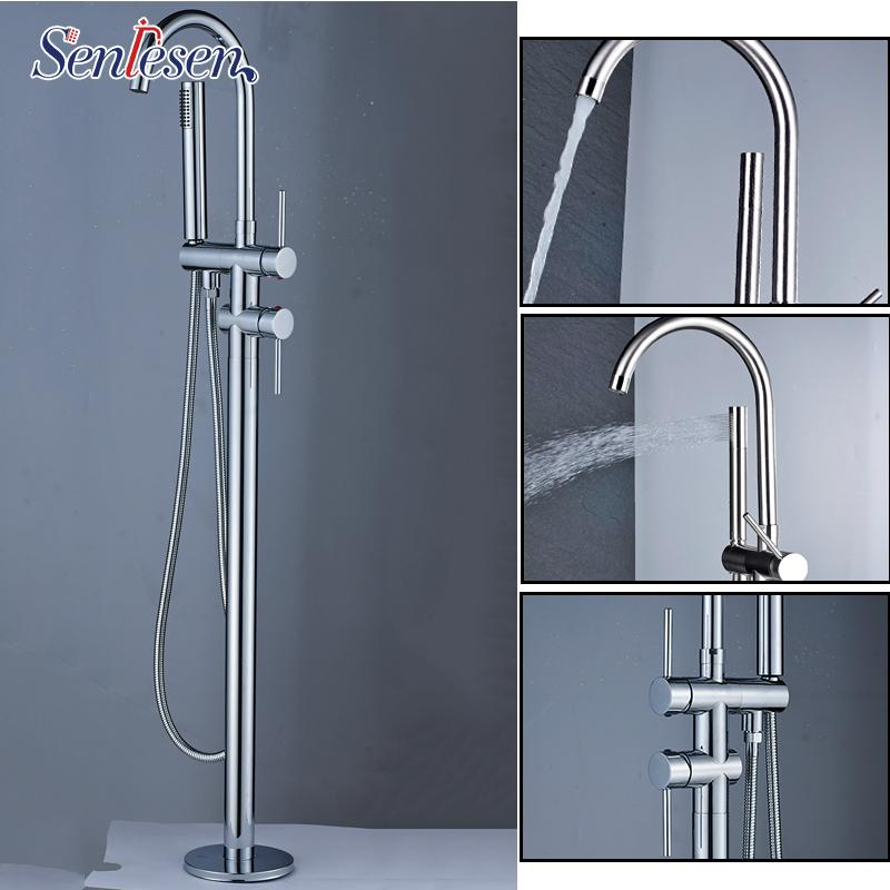 Senlesen Brass Floor Free Standing Faucet Single Handle Dual Control Cold Hot Water Mixer Tap Para Bathtub Shower & Bath