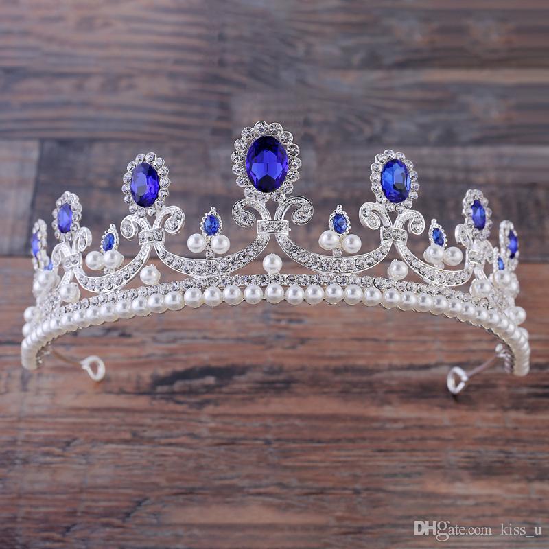 바로크 레드 블루 화이트 크라운 크리스탈 신부 왕관 빈티지 골드 헤어 액세서리 웨딩 라인 석 왕관 선발 대회 크라운