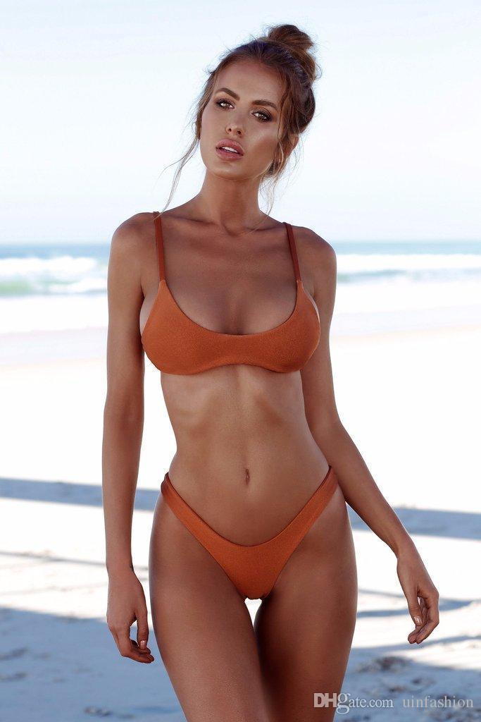 Polyester Bikini Swimwear New Women Brazilian Bikini Set Mid Waist Swimsuit Summer Wear Bathing Suit Bandage Biquini